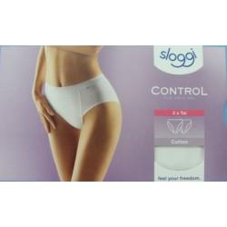 SLOGGI mutandina contenitiva donna cotone CONTROL TAI confezione 2 slip BIANCO