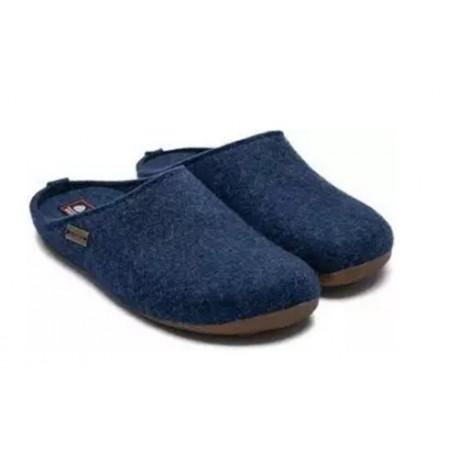 HAFLINGER pantofole unisex FUNDUS JEANS 481024 feltro lana cotta blu fondo gomma