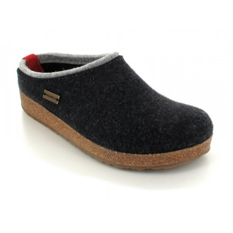 HAFLINGER pantofole KRIS GRAPHIT 711056 feltro di lana cotta fondo sughero gomma GRAFITE