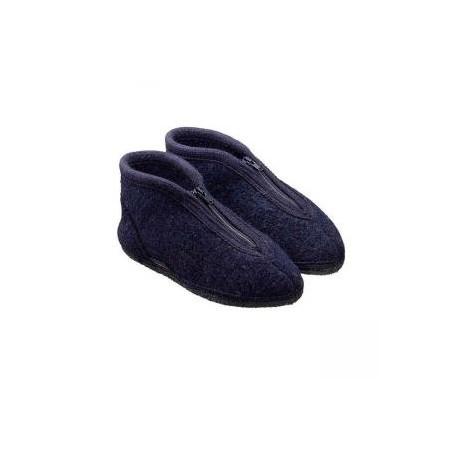 HAFLINGER pantofole uomo con zip ZIPPER KAPITAN 671501 lana cotta BLU antiscivolo