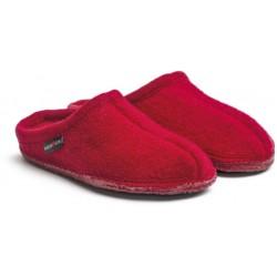 HAFLINGER pantofole unisex ALASKA 611001085 ZIEGELROT lana cotta ROSSO