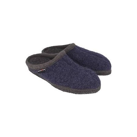 HAFLINGER pantofole unisex ALASKA 611001272 JEANS lana cotta BLU/GRIGIO 38