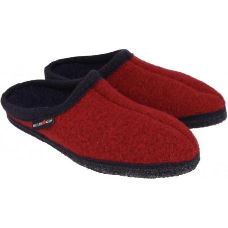 HAFLINGER pantofole unisex ALASKA 6110010242 PAPRIKA lana cotta ROSSO/BLU