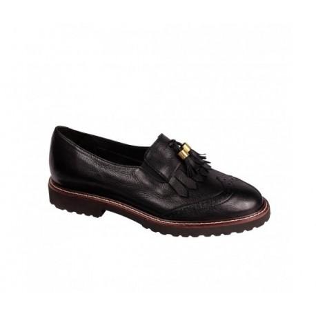 SCHOLL scarpa donna frange SAVANNAH pelle NERO plantare Memory suola flessibile