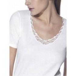RAGNO Maglietta donna MEZZA MANICA pizzo lana merino fuori cotone sulla pelle 71857