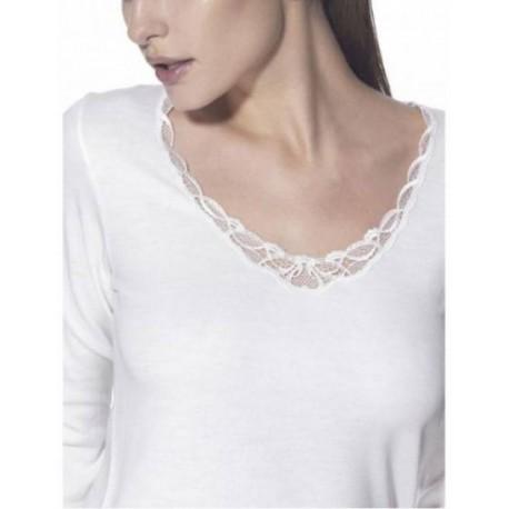 RAGNO Maglietta donna MANICA LUNGA pizzo lana merino fuori cotone sulla pelle 071859 BIANCO