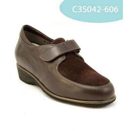 MEDIMA scarpe invernali donna MALVINA 3S042 T.MORO pelle nappa e camoscio strappo