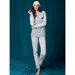 Q BO' pigiama invernale 1000 serafino con polsini punto milano flanella GRIGIO CHIARO