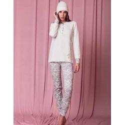 Q BO' pigiama invernale 1134 serafino con polsini caldo cotone flanella PANNA/FANGO