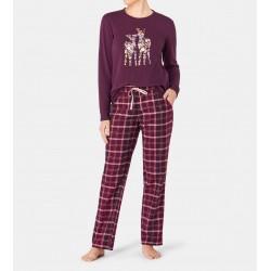 TRIUMPH pigiama invernale cotone interlock SETS capriolo BORDEAUX pantalone flanella scozzese