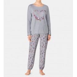 TRIUMPH pigiama lungo donna SETS 10191016 cotone jersey FANTASIA FIORI GRIGIO