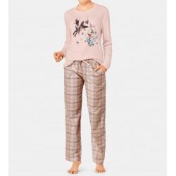 TRIUMPH pigiama invernale cotone interlock SETS capriolo PANNA/ROSA pantalone flanella scozzese