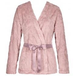 TRIUMPH vestaglia giacca corta sciallata cintura EMBOSSED ROBE peluche ROSA MALVA