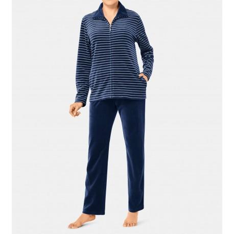 TRIUMPH tuta ampia con zip cotone ciniglia LEISURE SUITS LS VELOUR 02 pigiama BLU RIGHE