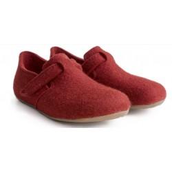 HAFLINGER pantofole scarpe unisex FOCUS RUBIN 481056 feltro lana cotta ROSSO fondo gomma
