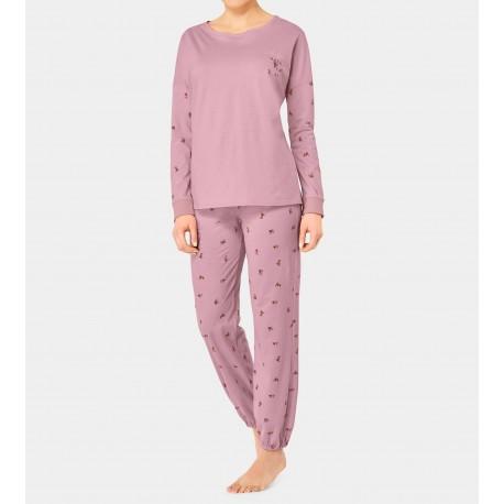 TRIUMPH pigiama invernale cotone SETS 10191016 disegno a piccoli sciatori ROSA