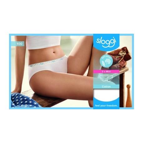 SLOGGI confezione 2 slip mutandina donna in cotone 100 MINI BIANCO elastico stelline