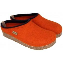 HAFLINGER pantofole KRIS ROST 711056 feltro di lana cotta fondo sughero gomma ARANCIO