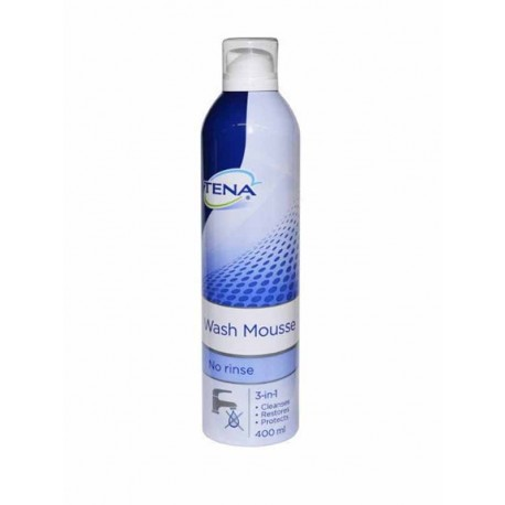 TENA WASH MOUSSE 400ml bomboletta spray 3-in-1 senza risciacquo deterge rigenera protegge