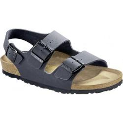 BIRKENSTOCK sandalo MILANO 634513 Birko Flor Nubuck BASALT A 3 fibbie regolabili