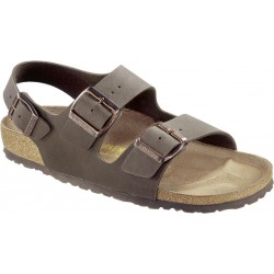 BIRKENSTOCK sandalo MILANO 634503 Birko Flor Nubuck MOCCA 3 fibbie regolabili