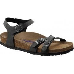 BIRKENSTOCK sandali KUMBA 026173 Birko Flor BRUSHED BLACK cinturini incrociati 3 fibbie