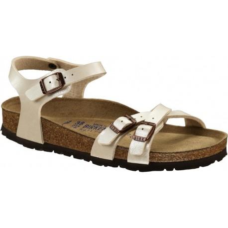 BIRKENSTOCK sandali KUMBA 026183 Birko Flor GRACEFUL PEARL WHITE cinturini incrociati 3 fibbie