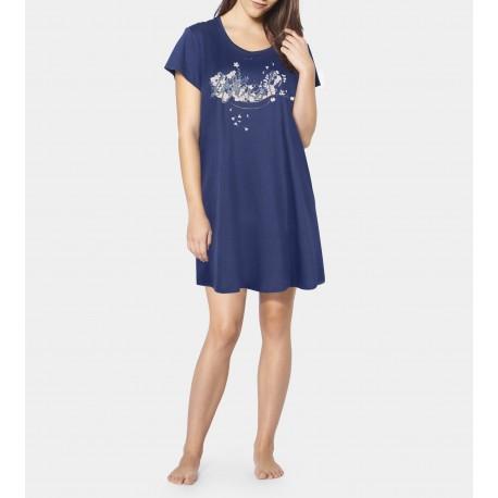 TRIUMPH abitino mezza manica camicia notte NIGHTDRESSES 10194863 cotone BLU FANTASIA