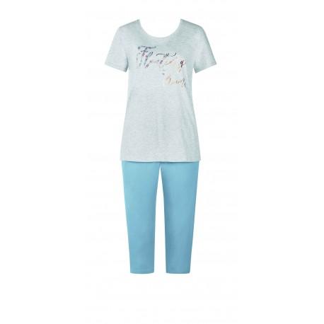 TRIUMPH completo estivo pigiama pinocchietto mezza manica SETS CAPRI cotone GRIGIO/AZZURRO 10194947