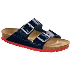 BIRKENSTOCK ciabatta sandalo 2 cinturini ARIZONA 652663 DRESS BLUE vernice blu fondo rosso