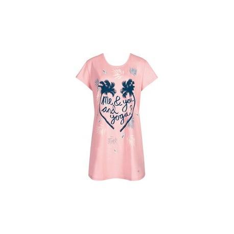TRIUMPH abitino mezza manica camicia notte NIGHTDRESSES cotone ROSA FANTASIA 10168213