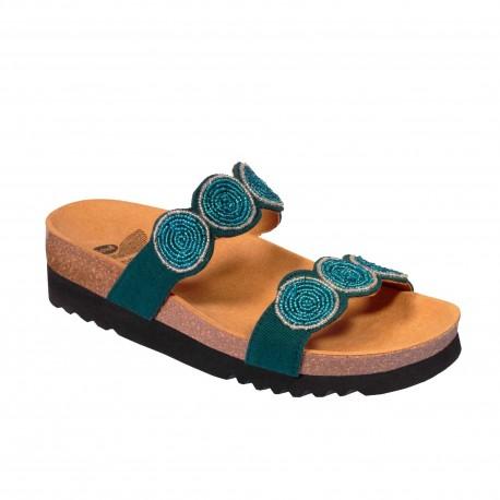 SCHOLL ciabatte sandali 2 fasce PALMILLA plantare BioPrint VERDE/TURCHESE perline