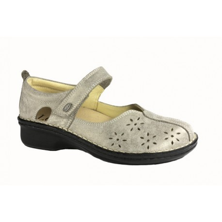 LOREN scarpe traforate sandali decolte M2313 plantare estraibile TORTORA LUX pelle