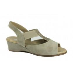 LOREN sandali elastico 80284 80304 80323 pelle scamosciata ROVESCIATO BEIGE con strass slip on