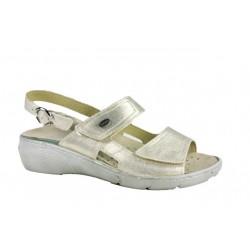 LOREN sandali 2 fasce con strappi M2660 plantare estraibile pelle PLATINO ECOLAME'