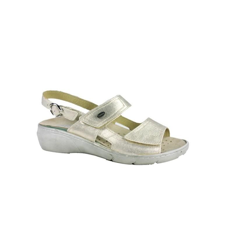 vestibilità classica 9e571 b7b2e LOREN sandali 2 fasce con strappi M2660 plantare estraibile pelle PLATINO  ECOLAME'