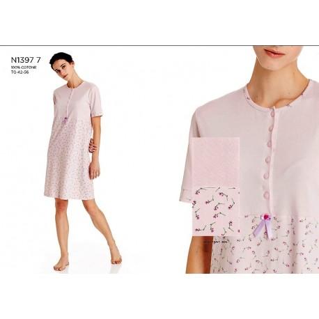 RAGNO Camicia da notte cotone mezza manica N13977 ROSA FIORELLINI bottoni serafino