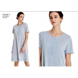 RAGNO Camicia da notte cotone mezza manica N14287 FIORELLINI BLU bottoni serafino
