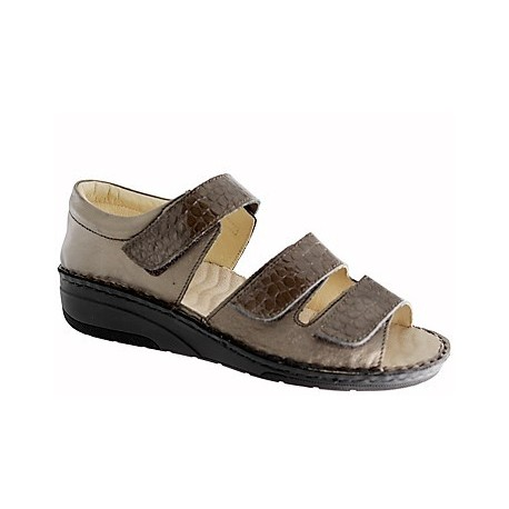 PODOLINE Scarpa punta aperta sandalo pelle RIBERA predisposta plantare estraibile PIOMBO