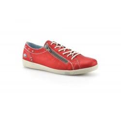 CLOUD scarpe sneaker basse AIKA morbida pelle con zip e lacci ROSSO plantare estraibile