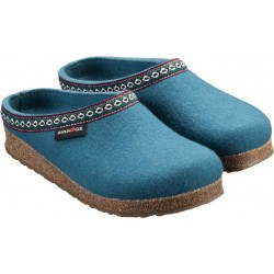 HAFLINGER pantofole FRANZL TURKIS feltro di lana cotta fondo gomma CELESTE tirolese