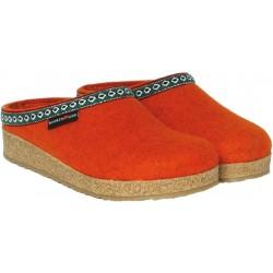 HAFLINGER pantofole FRANZL ROST feltro di lana cotta fondo gomma ARANCIO tirolese