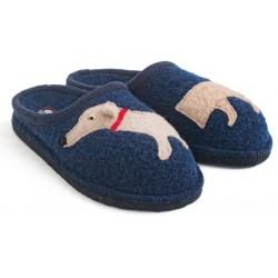 HAFLINGER pantofole DOGGY KAPITAN 313021 lana cotta BLU fondo feltro antiscivolo