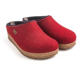 HAFLINGER pantofole KRIS PAPRIKA 711056042 feltro di lana cotta fondo sughero gomma ROSSO SCURO