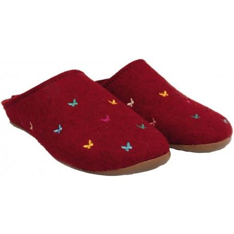 HAFLINGER pantofole FUNDUS FARFALLINE 484014 feltro lana cotta ROSSO fondo gomma