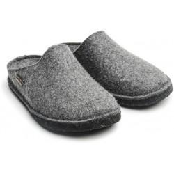 HAFLINGER pantofole SOFT lana cotta STEINGRAUMELIERT GRIGIO fondo feltro antiscivolo