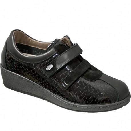 LOREN scarpe ortopediche plantare estraibile M2697 pelle e vernice NERO 2 strappi