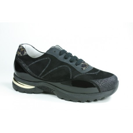 LOREN scarpe sneaker ortopediche lacci A1070 plantare estraibile NERO/ANIMALIER