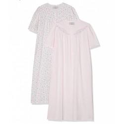 TRIUMPH camicia notte mezza manica 2 pezzi TIMELESS COTTON cotone ROSA/FIORI taglie forti pacco doppio