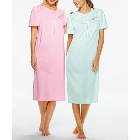 TRIUMPH camicia notte mezza manica 2 pezzi TIMELESS COTTON cotone VERDE/ROSA taglie forti pacco doppio